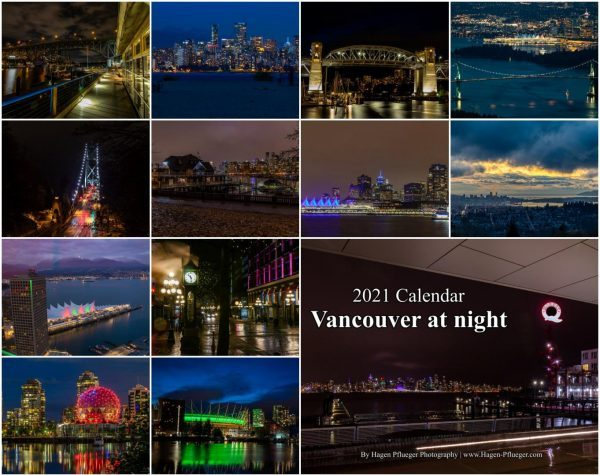 2021 Calendar - Vancouver at night